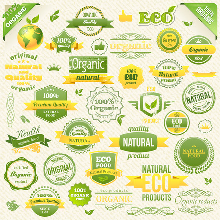 Collection Vector Organic Food, Eco, Bio Labels and Elements. elements for Food and Drink.