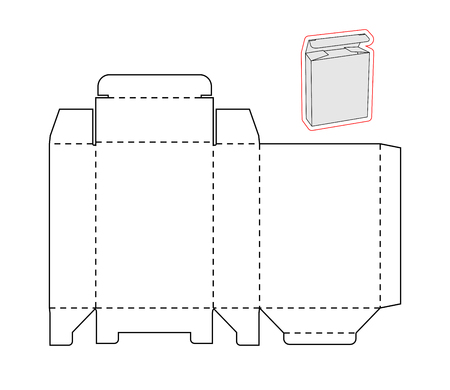 Ilustración de Template of a simple Box on white background. Cut out of Paper or cardboard Box. Box with Die-cut - Imagen libre de derechos