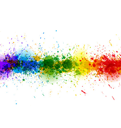 Illustration for Paint splashes background. Vector colorful banner made of bright stains. Colorful poster - Royalty Free Image