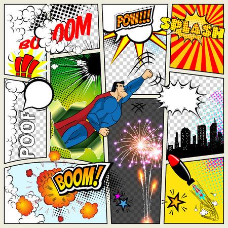 Ilustración de Mock-up of a typical comic book page. Vector Comics Pop art Superhero concept blank layout template with clouds beams, speech bubbles isolated. Speech bubles, symbols on colored Halftone Backgrounds - Imagen libre de derechos