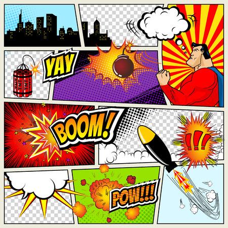 Illustration pour Comics Template. Vector Retro Comic Book Speech Bubbles Illustration. Mock-up of Comic Book Page with place for Text, Speech Bubbls, Symbols, Sound Effects, Colored Halftone Background and Superhero - image libre de droit