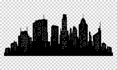 Ilustración de Set of vector city silhouette and elements for design. Isolated on pixelated background - Imagen libre de derechos