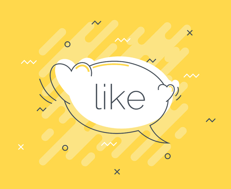 Quick Tips badge with like speech bubble. Trendy flat vector on yellow background. Heart vector illustration