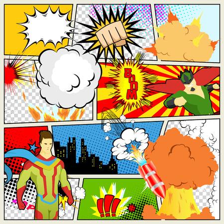 Ilustración de Comics Template. Vector Retro Comic Book Speech Bubbles Illustration. Mock-up of Comic Book Page with place for Text, Speech Bubbls, Symbols, Colored Halftone Background and Superhero - Imagen libre de derechos