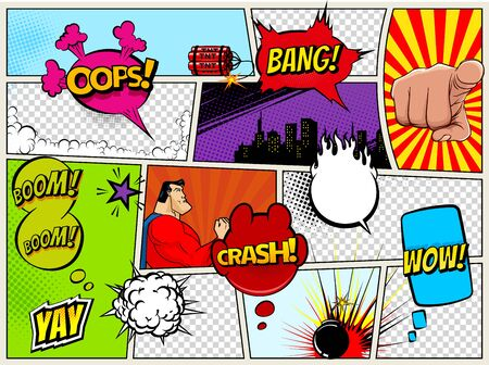 Ilustración de Grunge Retro Comic Speech Bubbles. Background with radial halftone effects and rays in pop-art style. Abstract Talking Clouds and Sounds - Imagen libre de derechos