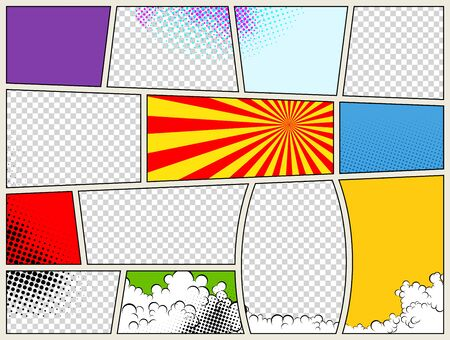 Ilustración de Comic book page template with radial halftone effects and rays in pop-art style. Colorful empty background. Vector illustration. - Imagen libre de derechos