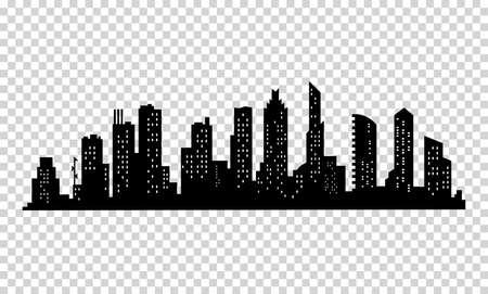 Illustration pour City silhouette. Modern urban landscape. Cityscape buildings silhouette on transparent background. City skyline with windows in a flat style - image libre de droit
