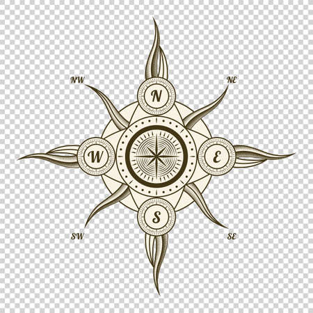 Illustration pour Vintage nautical compass. Old vector design element for marine theme and heraldry on transparent background. Hand drawn wind rose - image libre de droit