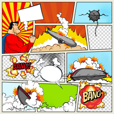 Ilustración de Template comic book page with warships. Pop art ships that explode. Military action. Comic book page divided by lines with speech bubbles superhero and sounds effect. Retro background mock-up - Imagen libre de derechos