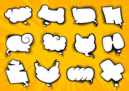 Illustration pour Comic style speech bubbles collection. Speech balloons and elements set. Funny vector design elements. Vector cartoon illustrations isolated on white background - image libre de droit