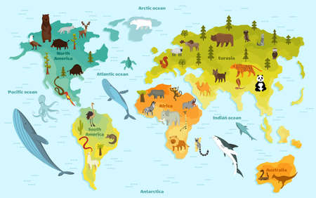 Illustration pour World map with different animal. Funny cartoon banner for children with the continents, oceans and lot of funny animals. Materials for kids preschool education - image libre de droit