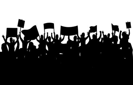 Illustration for Peaceful protest and revolution. Silhouette of riot protesting crowd demonstrators with banners and flags. People on the meeting, crowd with banners. Vector illustration of conflict - Royalty Free Image