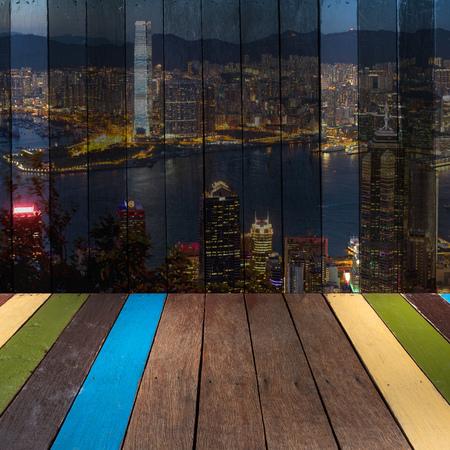 The art of painting Hongkong skyline on background