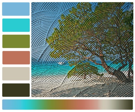 seascape print on wall with color palette swatches