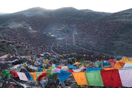 Larung Gar. Top view monastery at Larung gar (Buddhist Academy) in sunshine day, Sichuan, China