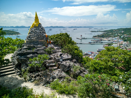 Buddha footprint view point at Sichang island is located in the middle of the Gulf of Thailand.