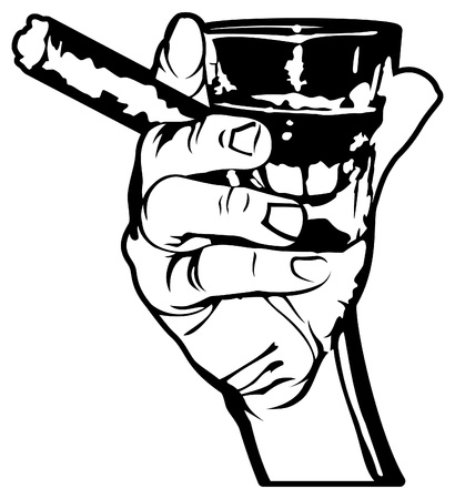 Vector Hand Holding a Cigar and Shot of Whiskey