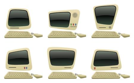 Retro Cartoon Computer Vector Icons: Royalty-free vector