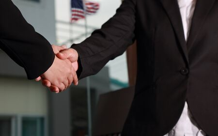 Photo for Businesswomen handshaking for business relationship - Royalty Free Image