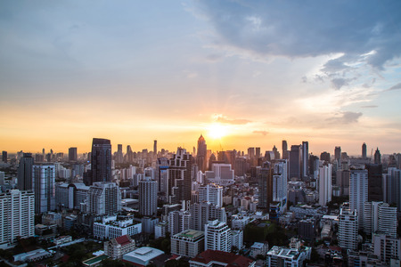 Photo for view of Sunset over city scape - Royalty Free Image