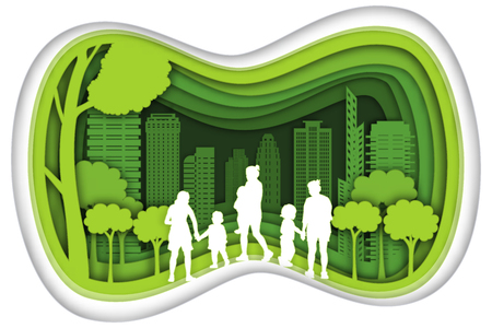 Illustration pour Carving design of city urban, mom, son and baby with green nature as happy family, quality of life, ecology idea, Paper cut art and craft style concept. vector illustration. - image libre de droit