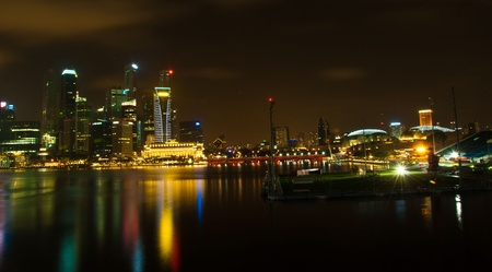 Singapore skyline and river at night time