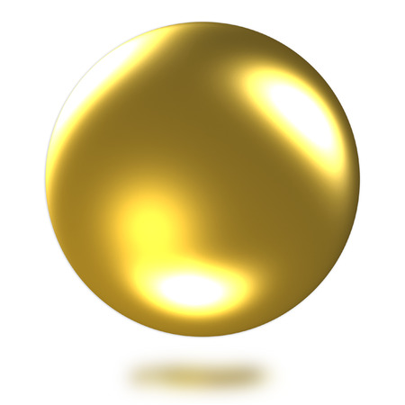Photo for Golden ball 3D rendering on white background.(with Clipping Path). - Royalty Free Image