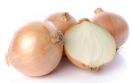 Fresh yellow onions, isolated on white