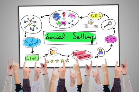 Photo pour Social selling concept on a whiteboard pointed by several fingers - image libre de droit