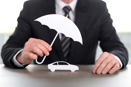 Insurer protecting a car, concept of insured car