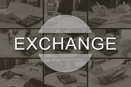 Exchange concept illustrated by pictures on background