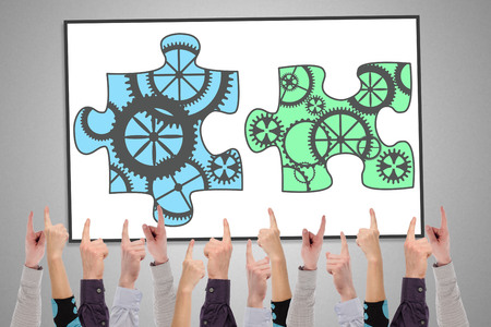 Photo pour Teamwork concept on a whiteboard pointed by several fingers - image libre de droit