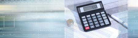 Photo pour Calculator on financial documents, accounting concept, closeup. panoramic banner - image libre de droit