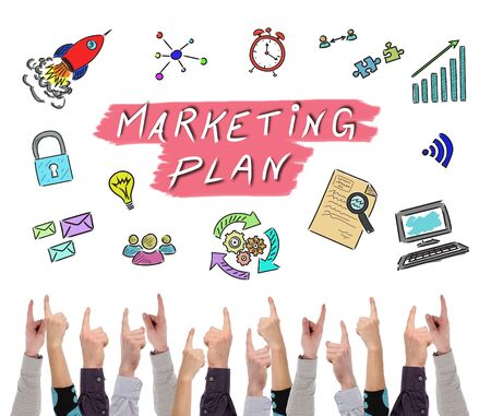 Photo for Marketing plan concept on white background pointed by several fingers - Royalty Free Image