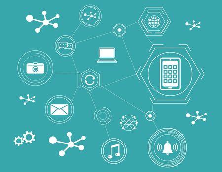 Photo pour Concept of apps with connected icons - image libre de droit