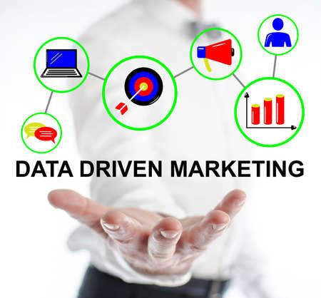 Photo pour Data driven marketing concept levitating above a hand of a man - image libre de droit