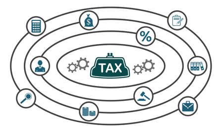 Photo pour Concept of tax with connected icons - image libre de droit