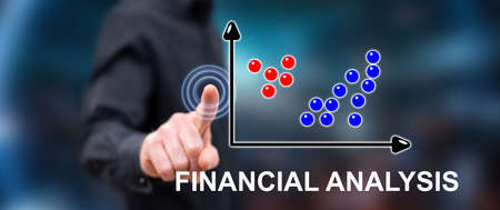 Photo pour Man touching a financial analysis concept on a touch screen with his finger - image libre de droit