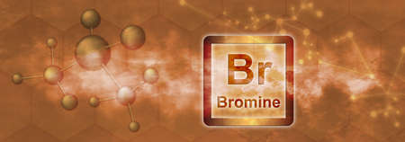 Br symbol. Brominechemical element with molecule and network on orange background