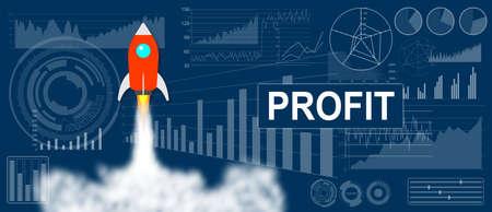 Photo pour Profit concept with a rocket launch on charts background - image libre de droit