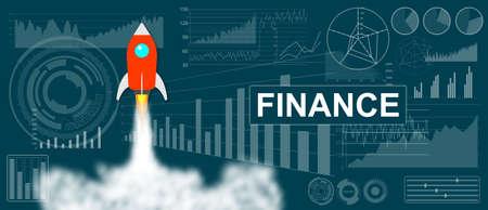Photo pour Finance concept with a rocket launch on charts background - image libre de droit