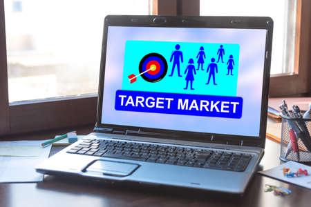 Photo pour Laptop screen displaying a target market concept - image libre de droit