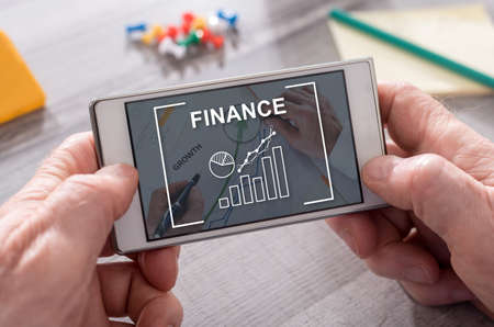Photo pour Finance concept on mobile phone - image libre de droit