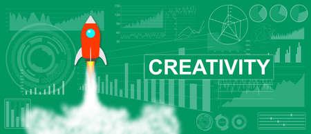 Photo pour Creativity concept with a rocket launch on charts background - image libre de droit