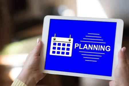 Photo pour Tablet screen displaying a planning concept - image libre de droit