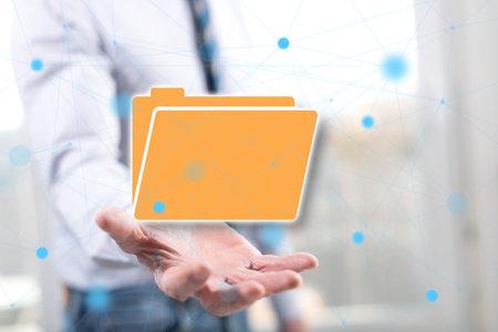 Photo pour Data concept above the hand of a man in background - image libre de droit