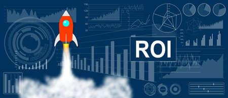 Photo pour ROI concept with a rocket launch on charts background - image libre de droit