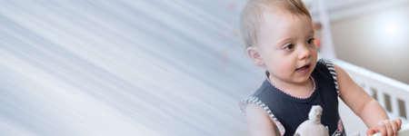 Photo pour Portrait of cute baby girl; panoramic banner - image libre de droit