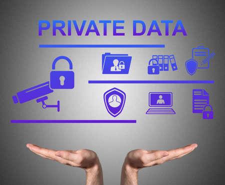 Photo pour Open hands sustaining private data concept - image libre de droit