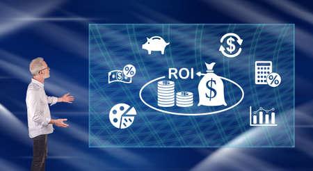 Photo pour Businessman showing a king concept on a wall screen - image libre de droit